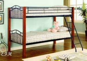 NEW CHERRY FINISH TWIN WOOD & BLACK METAL BUNK BED
