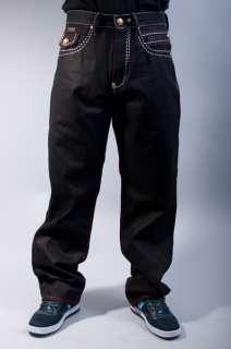 NEW MENS COOGI HIP HOP BLACK RINSE RED LOOSE FIT DENIM JEANS PANTS
