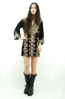 Vtg 70s Black VELVET Gold EMBROIDERED Boho Hippie FESTIVAL Mini Dress