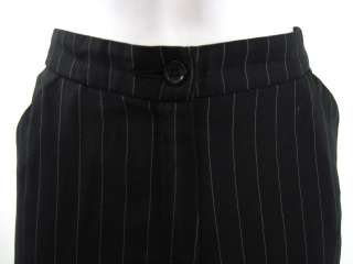 DESIGNER Black Pinstripe Straight Leg Pants Slacks 32