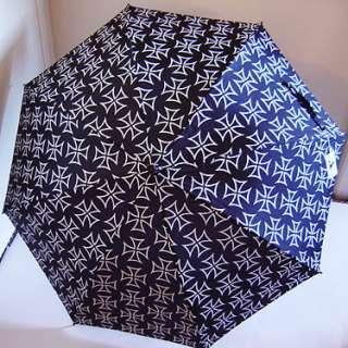 New GOTH Lolita Punk BLACK Iron Cross PARASOL Umbrella