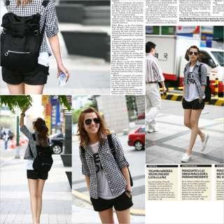 fashion women canvas casual style shoulder backpack blackbag