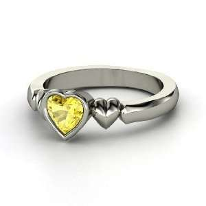 My Heart Beats for You Ring, Heart Yellow Sapphire Sterling Silver
