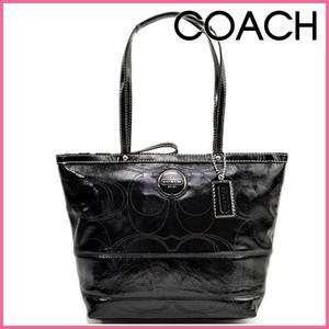Authentic COACH signature black leather handbag BNWT