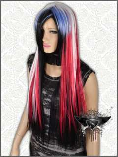 GW340 Red White Mixed Cosplay Car Party Long Straight Full Wig
