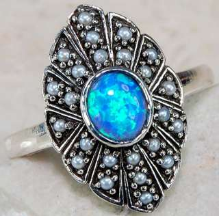 BLUE FIRE OPAL, SEED PEARL & 925 SOLID STERLING SILVER victorian style