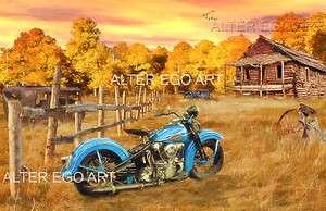 Ol Blue 11x17 Print Harley Davidson Knucklehead nostalgic biker art