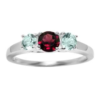 35 Ct Red Garnet Sky Blue Topaz Sterling Silver Ring
