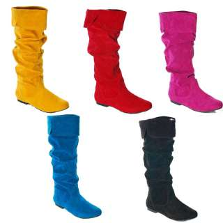 Neon Color Shoes Knee High Suede Flat Boots Red Black Blue