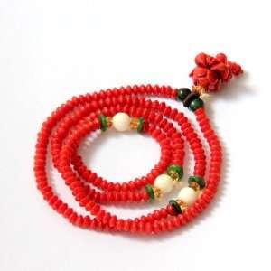Red Coral Beads Tibetan Buddhist Prayer Japa Mala Necklace Wrist Mala