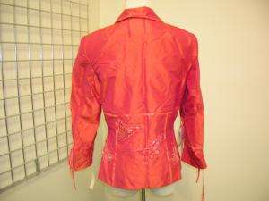 580 BOB MACKIE red silk pants butterfly outfit 6 NWT