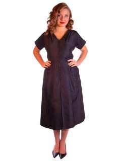 Vintage Black Silk Cocktail Dress Full Skirt Mary Sachs 1950S 38 30