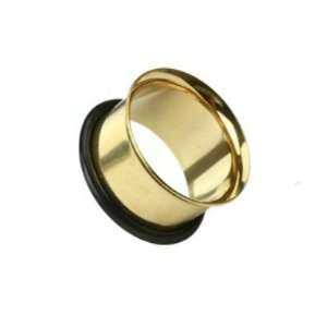 Pair (2) Gold Plated Single Flare Ear Plugs Tunnels w/O