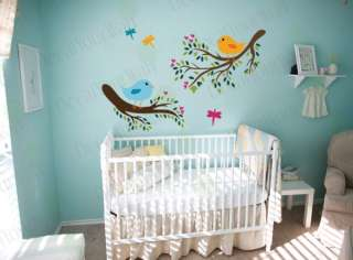 Nursery Kids Tree branch Birds Vinyl Wall Decal Sticker