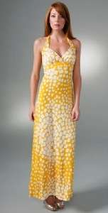 425 FURSTENBERG JOCELYN yellow silk halter maxi dress 8