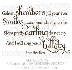 The Beatles Quote Vinyl Wall Decal Lettering GOLDEN SLUMBERS Nursery