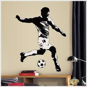 Black & White SOCCER PLAYER WALL DECAL Sports Stickers Boys Room Mural