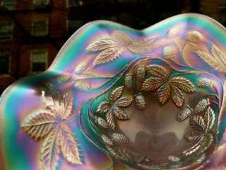 EMERALD GREEN BLACKBERRY BRAMBLE CARNIVAL GLASS COMPOTE SUPERB