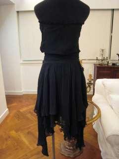 BCBG MAXAZRIA BLACK ASSYMETRIC SILK CHIFFON DRESS Sz S