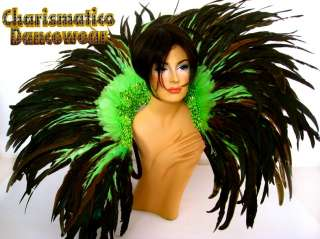 GREEN BRAZIL Feather SAMBA CARNIVAL BACK PACK COLLAR