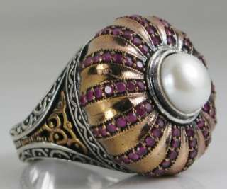 Deco 9mm South Sea Pearl & Ruby Enamel Rose Gold/Sterling 1.47ctw Ring