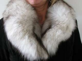 FAB VTG 70s BLACK SUEDE LEATHER PLUSH WHITE SILVER TIP FOX FUR COAT