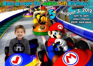 SUPER MARIO BROTHERS PHOTO BIRTHDAY PARTY INVITATIONS