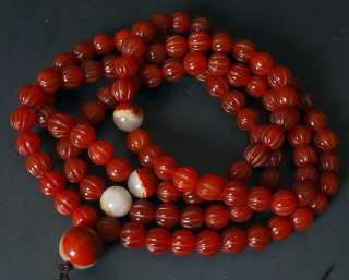 108 red Agate Melon Prayer Bead Pumpkin Rosary Buddhist