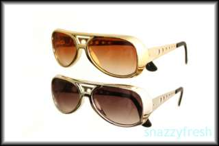 Elvis Silver Gold stunna sunglasses party chrome two 2