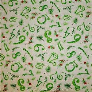 HALF YARD Paintbrush Studio 12 DAYS OF CHRISTMAS Green NUMBERS Fabric