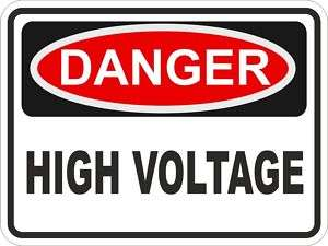 1x DANGER HIGH VOLTAGE WARNING VINYL STICKER BUMPER CAR