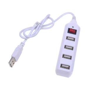 White 4 Port Mini USB 2.0 HUB High Speed Shaver 480 Mbps