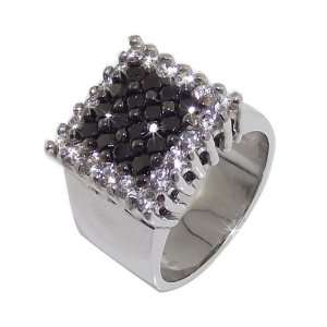 Studio 54 Ladies Ring in White 925 Silver with Black Cubic Zirconia