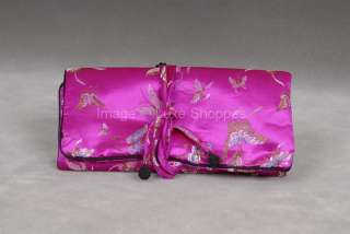 New Oriental Satin Jewelry Travel Pouch Roll Case Bag