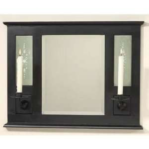 Black wall mirror with twin candleholders