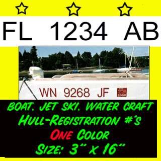 1COLOR Hull Boat Registration NUMBERS PWC DECAL STICKER