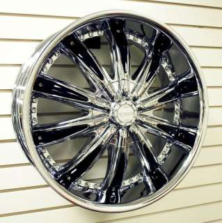 22 CABO 170 NITE CAP CHROME+Black Inserts Wheels Rims+Tires PKG 5x115