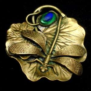 Art Nouveau Brooch Glass Peacock Eye Lily Pad Vintage Insect
