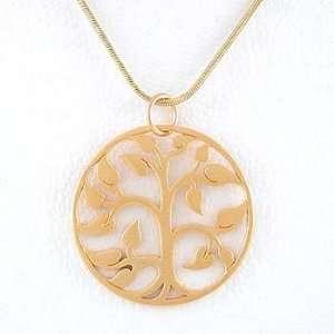 Round Tree of Life Open Cut Design Pendant in Gold Vermeil