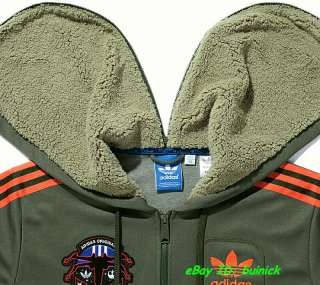 ADIDAS STAR WARS HOODED FLOCK TRACK TOP JACKET Military Green Army