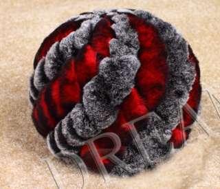 Silver Denmark Genuine Real Rex Rabbit Fur Hat Red Brown UK US