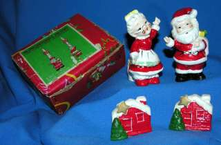 MR MRS SANTA XMAS CANDLE HOLDERS  CLIMBERS, IN ORIGINAL BOX