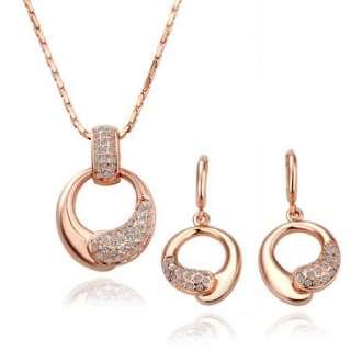 ST5 18K rose Gold plated white gem Swarovski crystal necklace earring