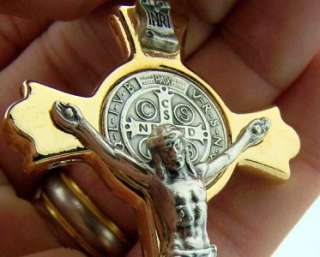 Rare St. Saint Benedict Exorcism Crucifix Cross Catholic 3 Tall GOLD