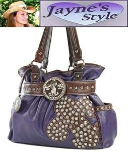 NEW Purple Western BLING PURSE RHINESTONE Skirt Handbag