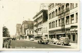 RPPC SPOKANE WASHINGTON DOWNTOWN STREET SCENE POSTCARD