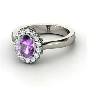 Princess Kate Ring, Oval Amethyst 14K White Gold Ring with Diamond