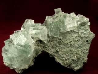 GORGEOUS CLEAR GREEN FLUORITE CRYSTALS ON MATRIX + XIANGHUAPU MINE