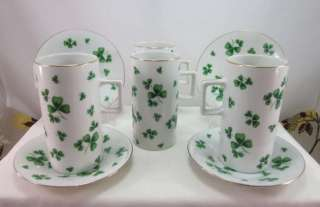 Marcus Shamrock Porcelain Irish Coffee Espresso Cups & Saucers