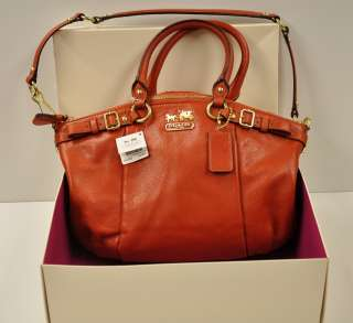 MADISON LEATHER SOPHIA SATCHEL Bag Style 18609 Persimmon Color